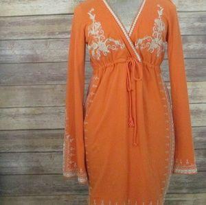 Lucky brand orange long sleeved hippie boho dress